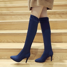 Solid Color Suede Heeled Slim Thigh High Boots