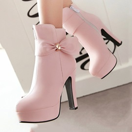 Sweet Bowknots Platform Ankle Boots