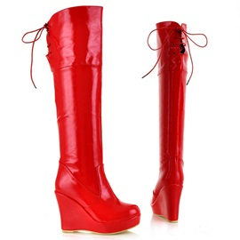 Enameled PU Wedge Heel Knee High Boots
