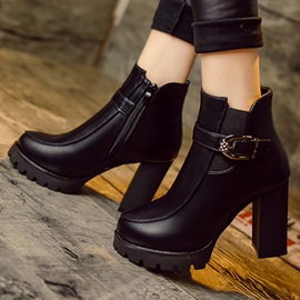PU Lugz Sole Buckle Chunky Heel Booties