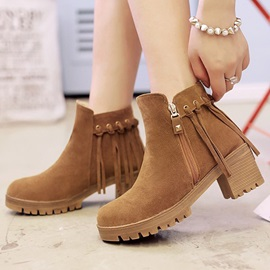 Solid Color Suede Tassels Chunky Heel Booties