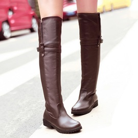 PU Round Toe Riding Boots