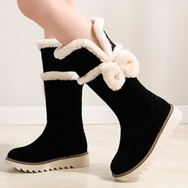 Bowknots Round Toe Slip-On Booties