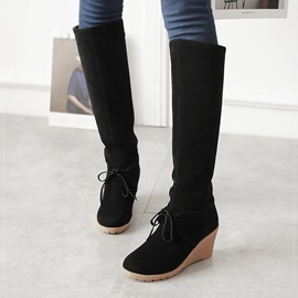 Suede Slip-On Knee High Wedge Boots