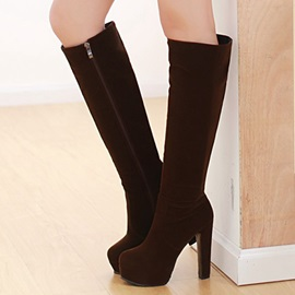 Solid Color Side Zipper Platform Knee High Boots