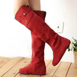 Solid Color Suede Slip-On Knee High Boots