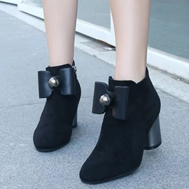Suede Bowtie Side Zipper Thread Ankle Boots