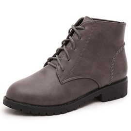 PU Simple Lace-Up Front Block Heel Martin Boots