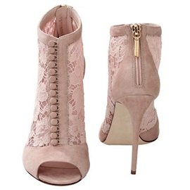 PU Lace See-Through Back Zipper Stiletto Heel Boots
