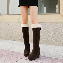 Nubuck Leather Round-Toe Slip-On Wedge Boots