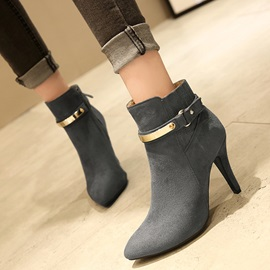 PU Side Zipper Buckle Stiletto Ankle Boots