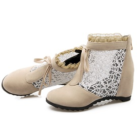 Lace Back Zip Thread Hidden Elevator Heel Boots