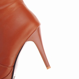 PU Side Zipper Over-The-Knee Stiletto Heel Boots