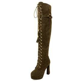 PU Lace-Up Front Stiletto Heel Fashion Boots