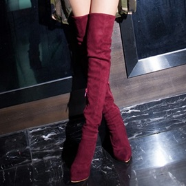 PU Slip-On Stiletto Thigh High Boots