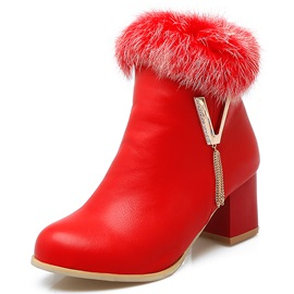 PU Side Zipper Round Toe Snow Boots