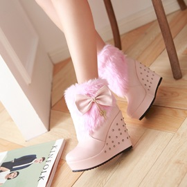 PU Slip-On Lace-Up Wedge Heel Snow Boots