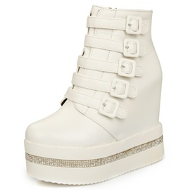 PU Side Zipper Rhinestone Platform Wedge Heel Boots