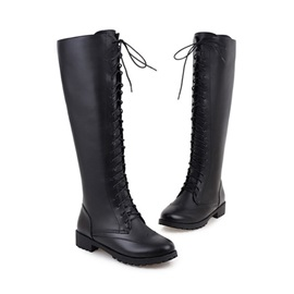 PU Lace-Up Chunky Knee High Boots
