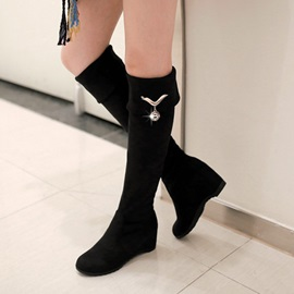 Suede Slip-On Round Toe Knee High Boots