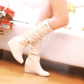 PU Slip-On Ruched Wedge Knee High Shoes