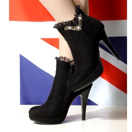 Suede Side Zipper Rhinestone Lace Ankle Boots