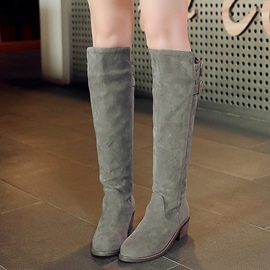 PU Slip-On Thread Block Heel Knee High Fahion Boots