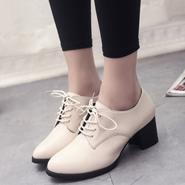 PU Lace-Up Front Thread Block Heel Boots