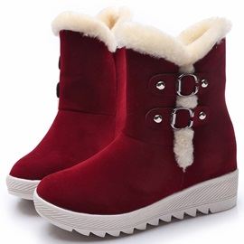 Suede Slip-On Thread Flat Snow Boots