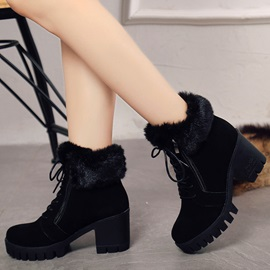 PU Side Zipper Lace-Up Platform Block Heel Boots