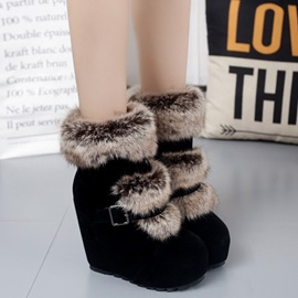 Suede Side Zipper Platform Wedge Heel Snow Boots