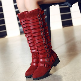 PU Side Zipper Buckle Thread Knee High Boots