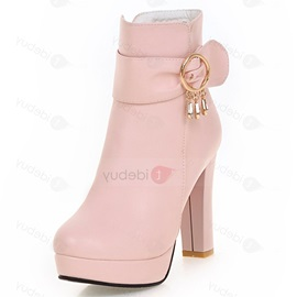 PU Side Zipper Chain Platform Block Heel Boots