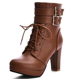 PU Side Zipper Lace-Up Martin Boots