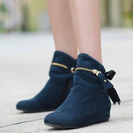 Suede Lace-Up Back Zipper Ankle Boots