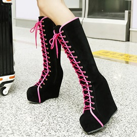 Suede Lace-Up Front Platform Wedge Heel Fashion Shoes