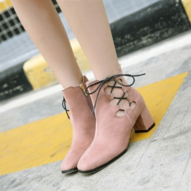 Suede Side Zipper Cross Strap Hollow Ankle Boots