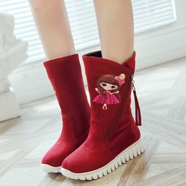 Suede Side Zipper Carton Tassel Mid-Calf Boots