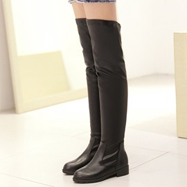 PU Slip-On Thread Round Toe Thigh High Shoes