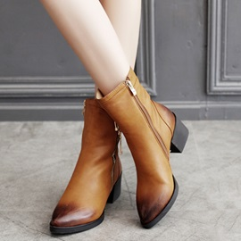 PU Brush Side Zipper Block Heel Women's Boots