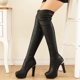 Elegant PU Slip-On Platform Thigh High Boots