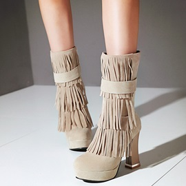 Tassel PU Side Zipper Platform Thread Women's Boots