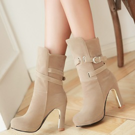 PU Slip-On Platform Buckle Block Heel Ankle Boots