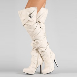 PU Side Zipper Button Cross Strap Women's Fashion Boots