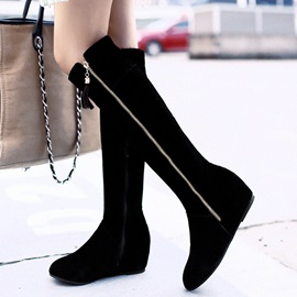PU Side Zipper Thread Black Knee High Flat Boots