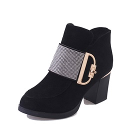 PU Side Zipper Rhinestone Women's Boots
