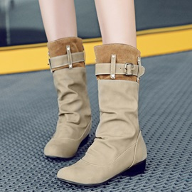 PU Slip-On Ruched Buckle Flat Women's Boots