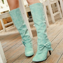 PU Slip-On Bow Stiletto Women's Knee High Boots