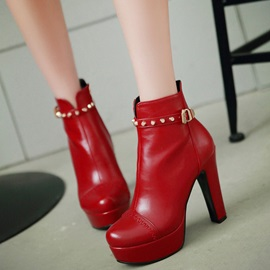 PU Side Zipper Platform Rivet High Heel Women's Boots