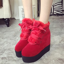Suede Lace-Up Front Flat Women's Snow Boots